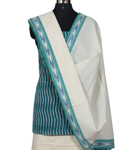 Blue, Teal and White Ikat Dress Material