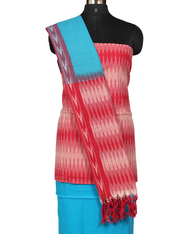 Blue and Red Cotton Ikat Dress Material