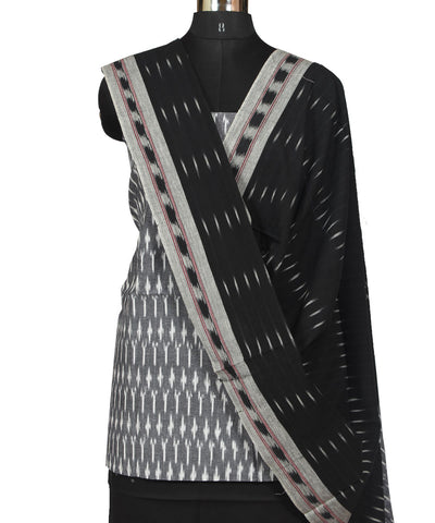 Grey, White and Black Ikat Dress Material