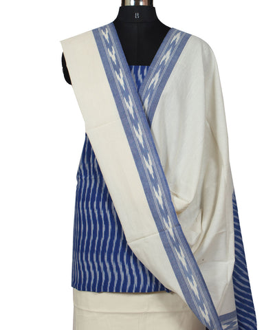 Blue and White Cotton Ikat Dress Material