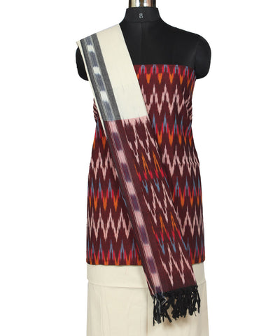 Maroon, Yellow and White Ikat Dress Material