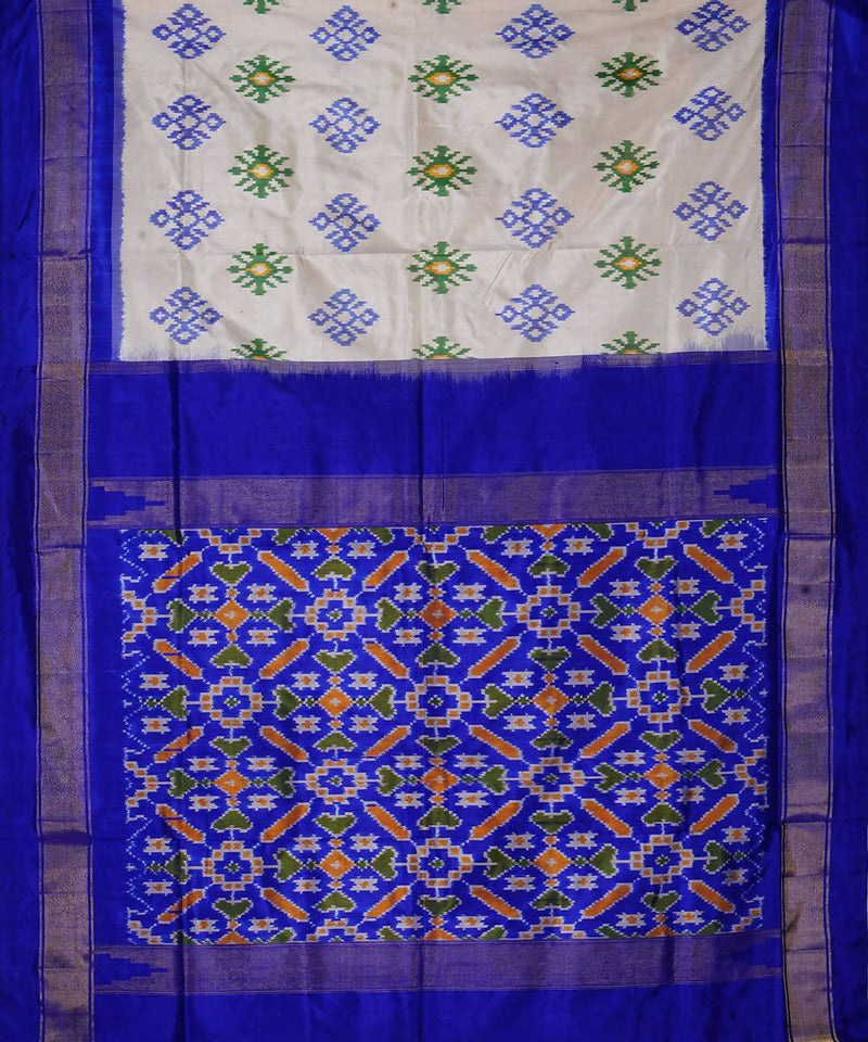 Off White Blue Handloom Ikkat Silk Saree