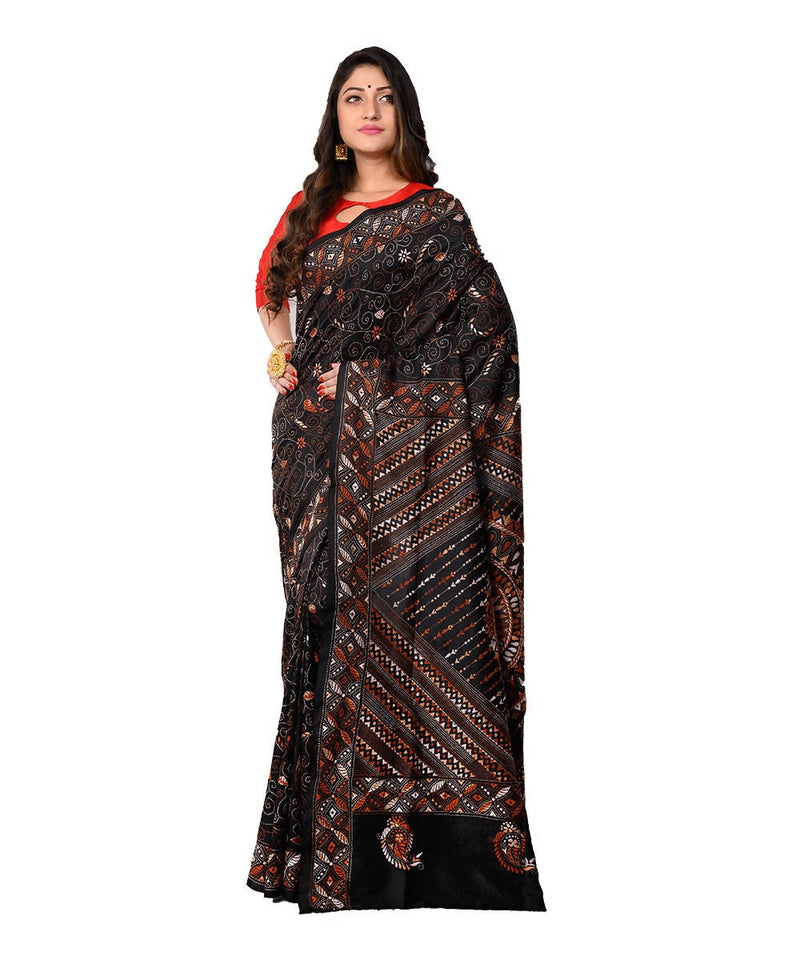 Bengal Handcrafted Kantha Stitch Black Saree