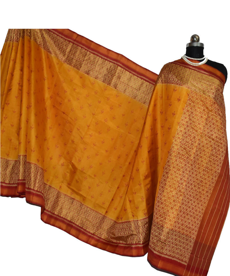 golden yellow Handloom Patola Silk Ikat Saree