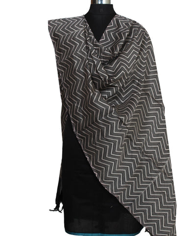 Black Chanderi Wave Printed Sico Dupatta