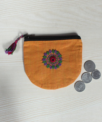Lambani Hand Embroidery Light Orange Cotton Coin Pouch
