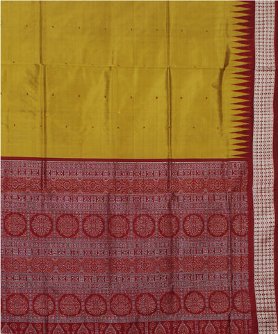 Golden Olive Handloom Bomkai Silk Saree
