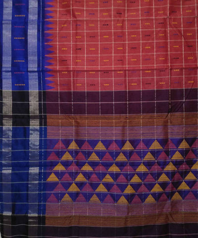 Handwoven Punch Pink Checks Dupion Silk Saree