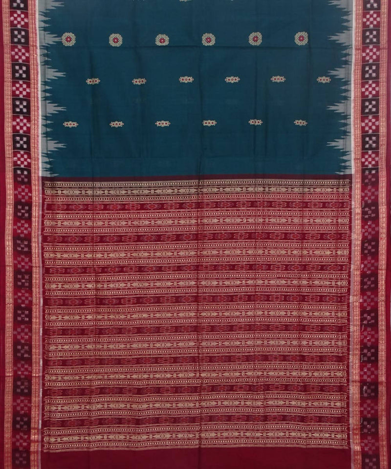 Handwoven deep green maroon bomkai cotton saree