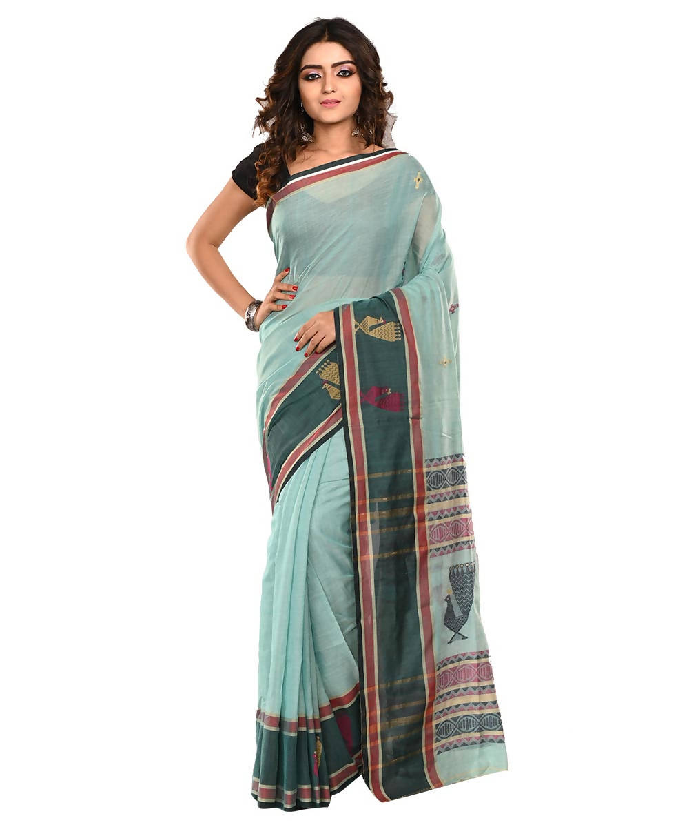 Light Blue Bengal Handloom Cotton Saree