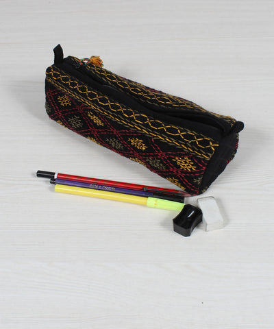Black Lambani Hand Embroidery Pencil Pouch