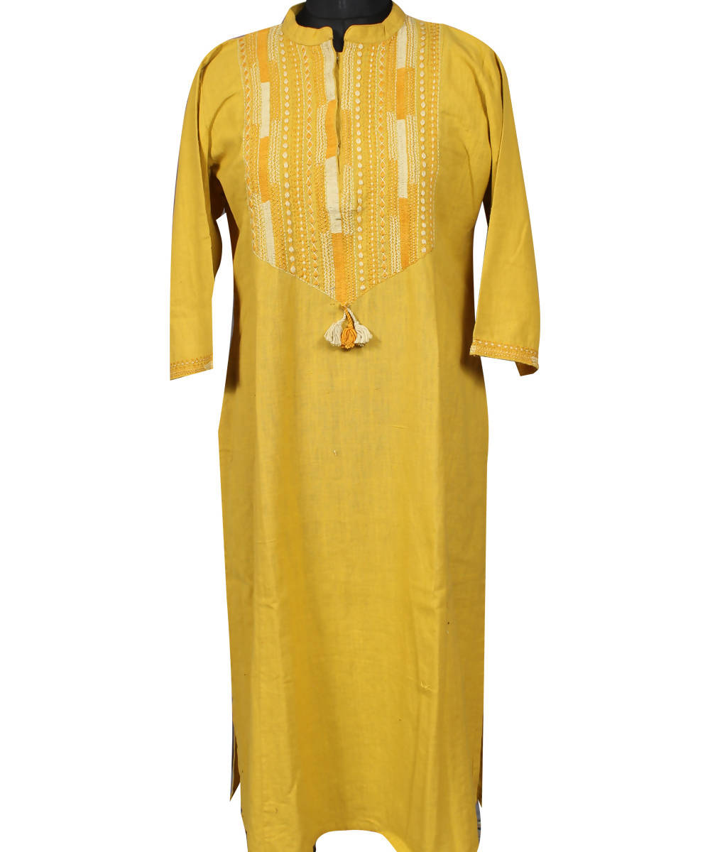 Lambani Hand Embroidery Yellow Cotton Kurta