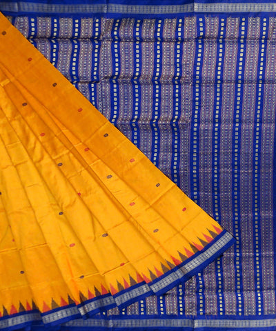 Yellow handwoven bomkai silk saree