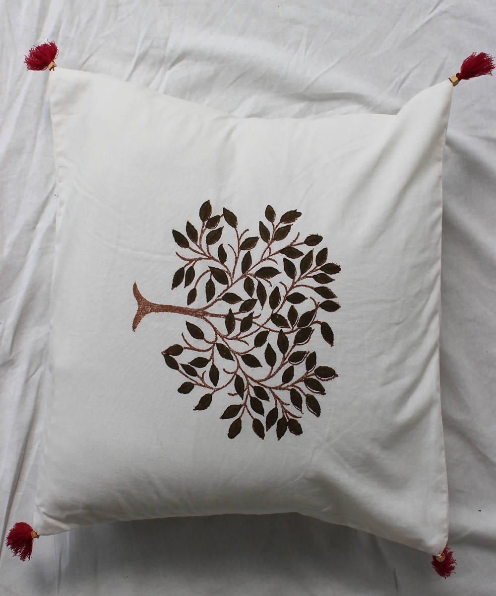 Handblock printed beige ivory cotton cushion cover