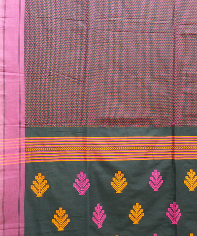 Mauve handwoven cotton bengal saree