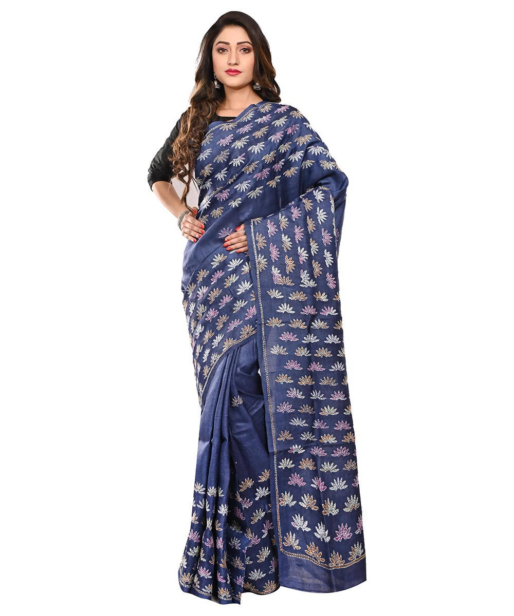 Navy Blue Handloom Tussar Kantha Stitch Saree