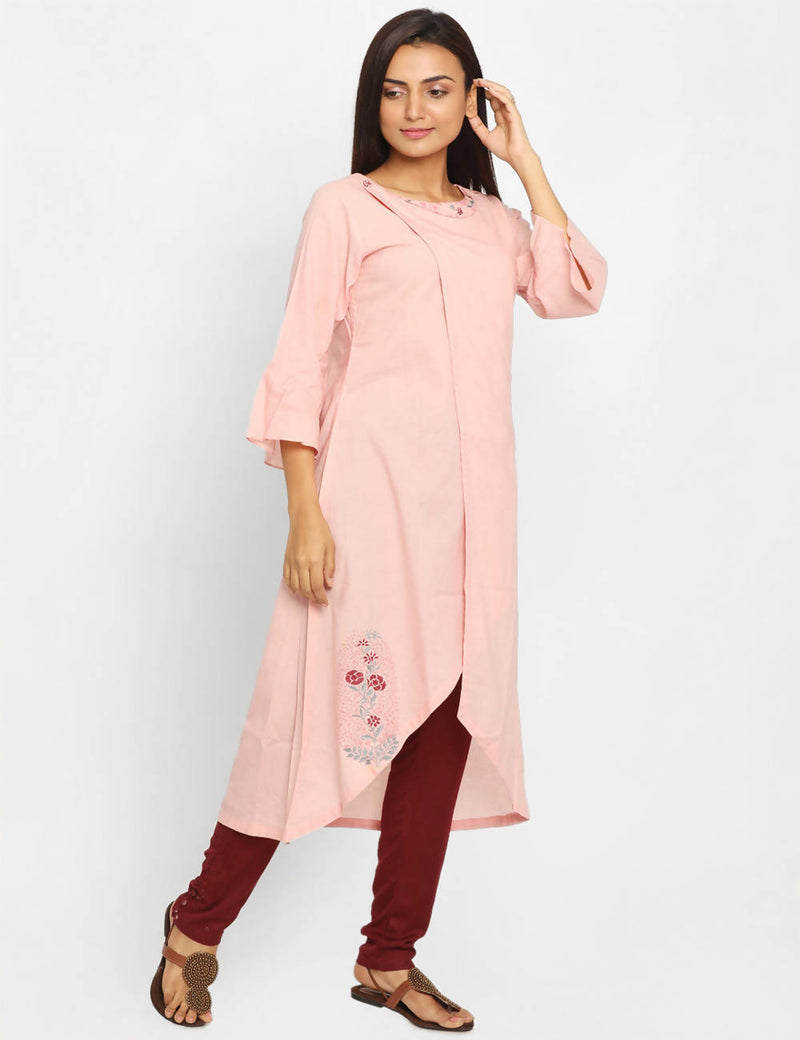 Light Pink Handwoven Cotton Kurta
