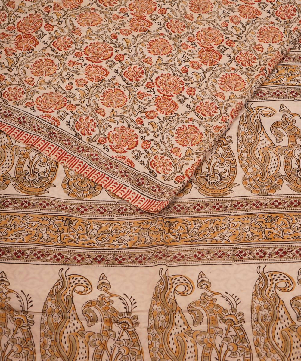 Kalamkari Hand Block Print Cotton Saree