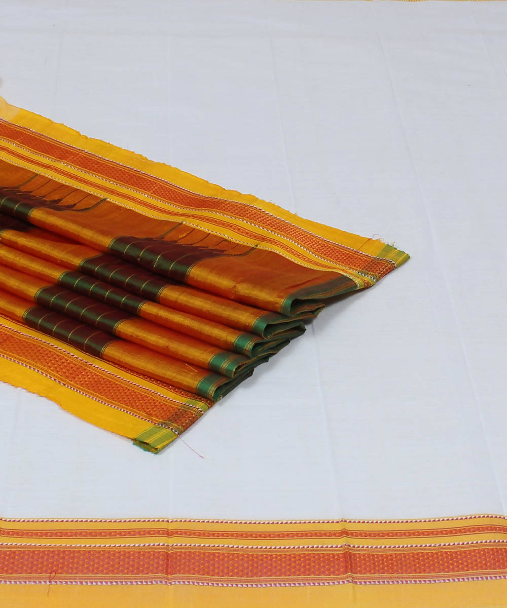 White and Mustard Handloom Ilkal Saree