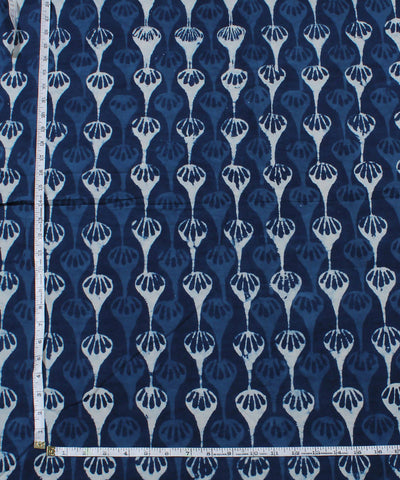 Indigo White Dabu Printed Cotton Fabric