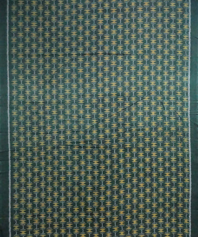 Dark Olive Green Sambalpuri ikat Handwoven Cotton Fabric Material