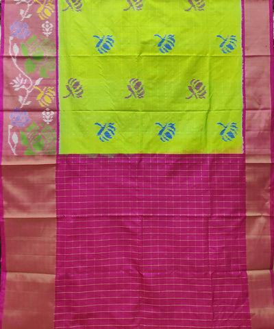 Yellow green pink handwoven pochampally ikkat silk lehanga material