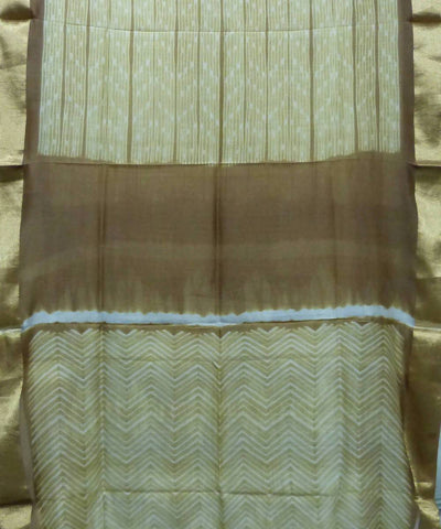 Shibori Light Brown Cream Handloom Maheshwari Saree