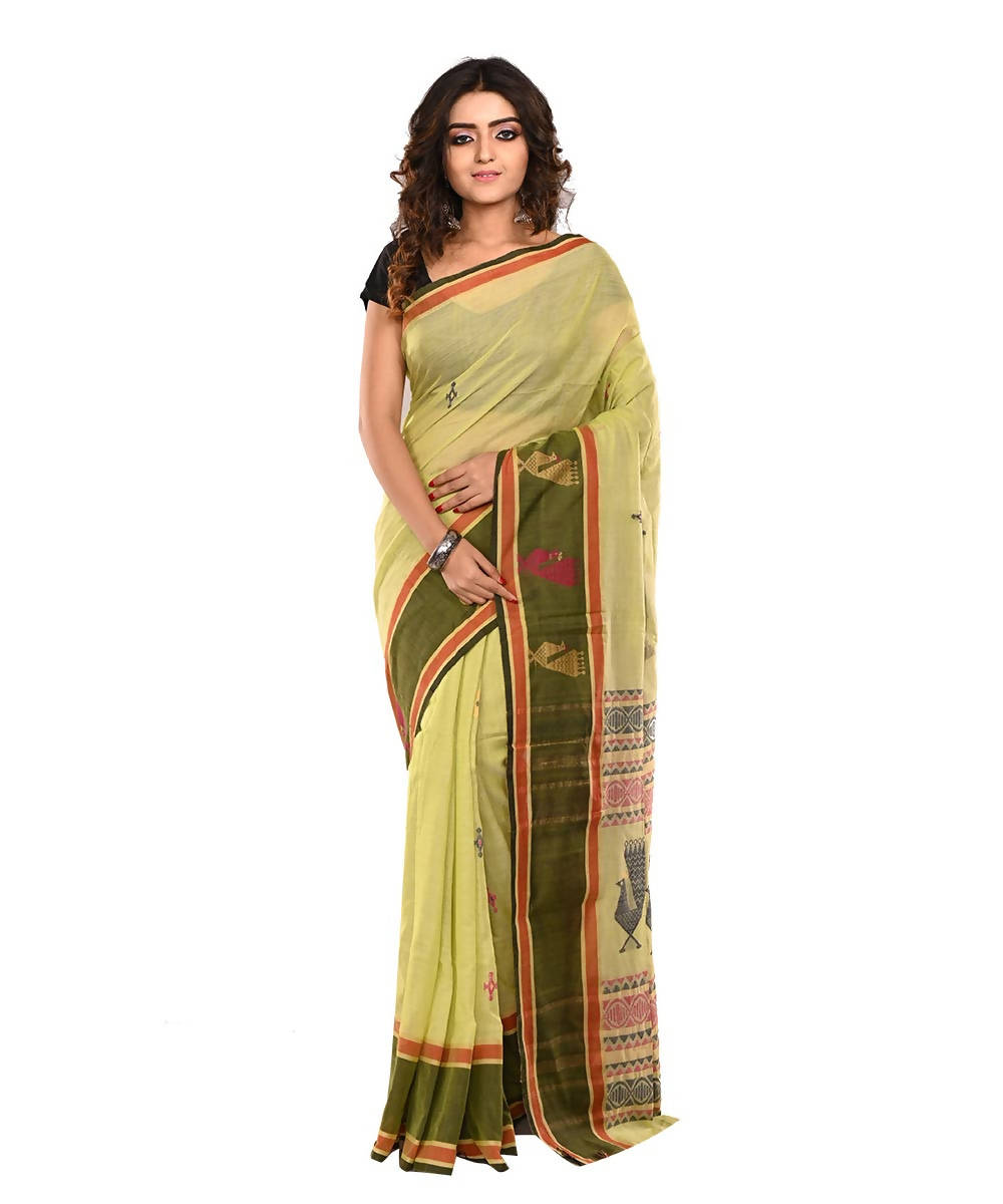 Bengal Lime Green Handloom Cotton Saree