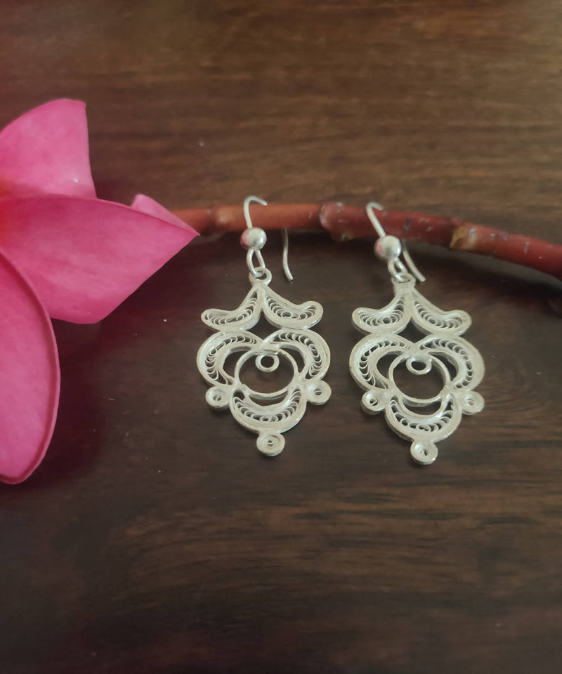 silver filigree handcrafted stylized dangle earrings