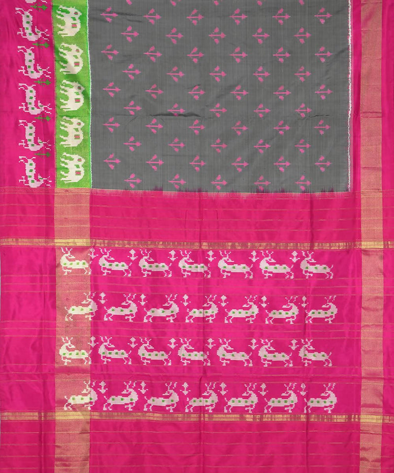 Handloom Grey Pink Pochampally Silk Saree