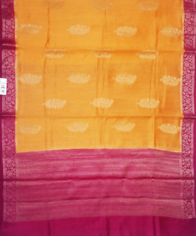 Fire Yellow and Pink Handloom Banarasi Silk Saree