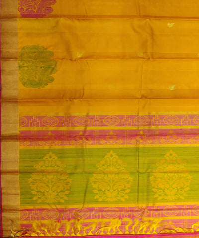 yellow handloom peacock motif soft silk saree