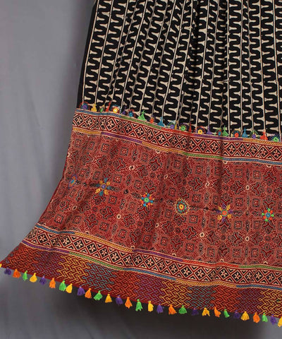 Black Red Hand Embroidery Printed Cotton Dupatta