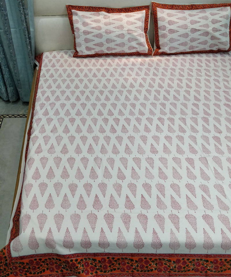 White Block Printed Cotton Bedsheet