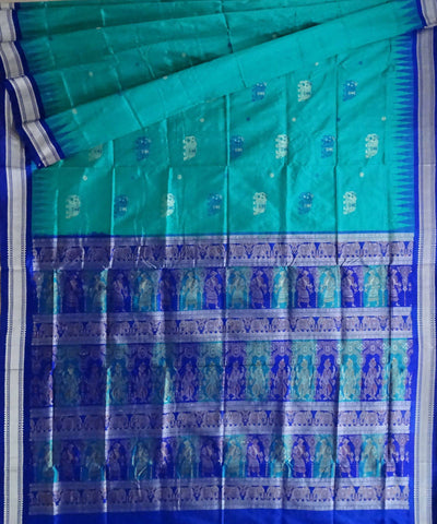 Blue Green handwoven bomkai silk saree