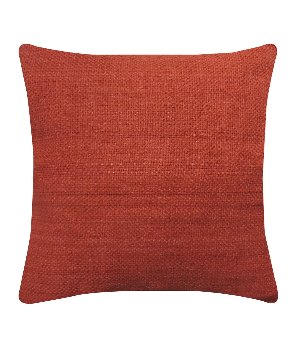 Tussar Silk Ruby Color Cushion Cover