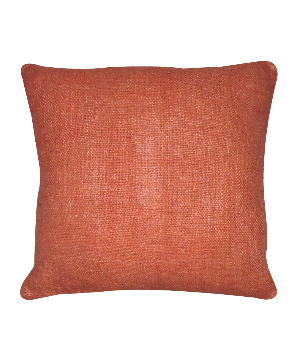 Tussar Silk Saffron Color Cushion Cover
