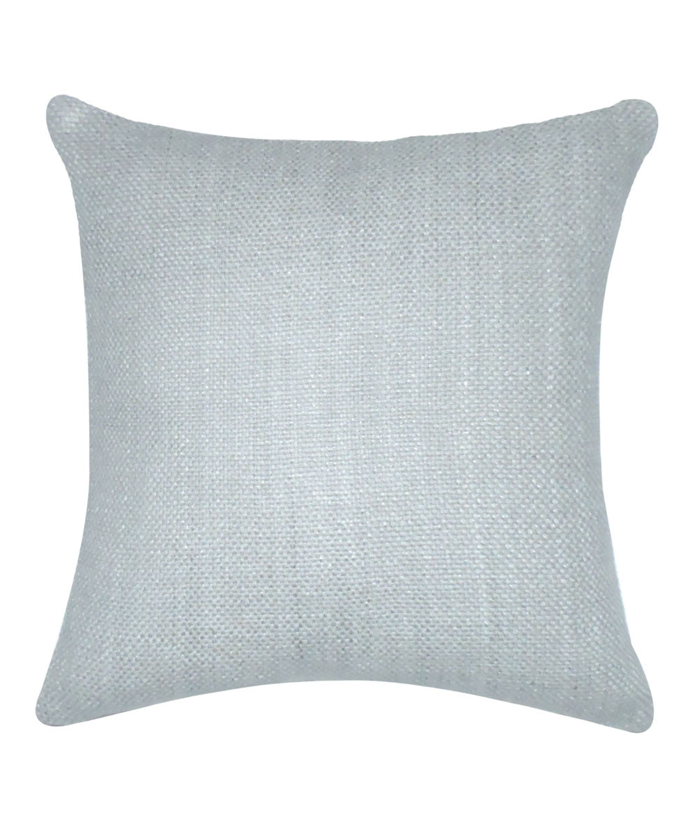 Tussar Silk Silver Grey Color Cushion Cover