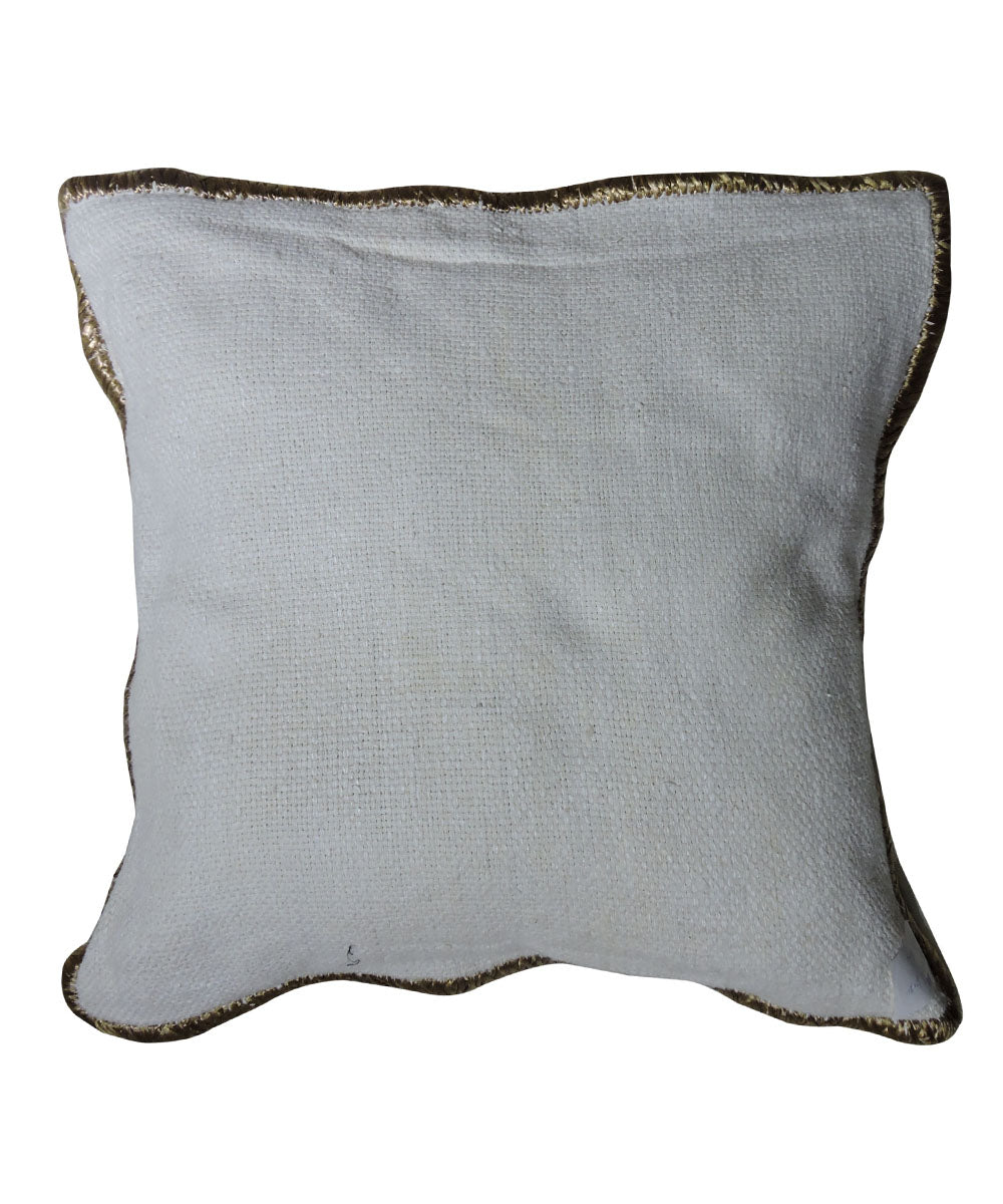 Tussar Silk Off White Color Cushion Cover