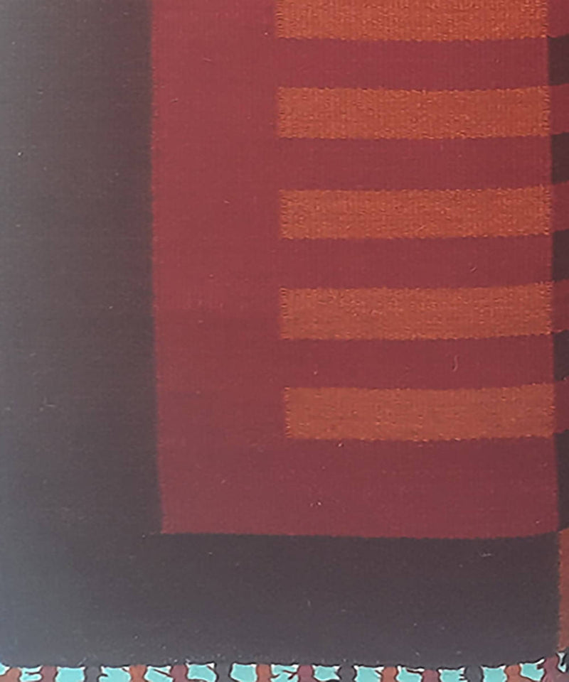 Maroon and red striped handwoven wool and cotton durrie