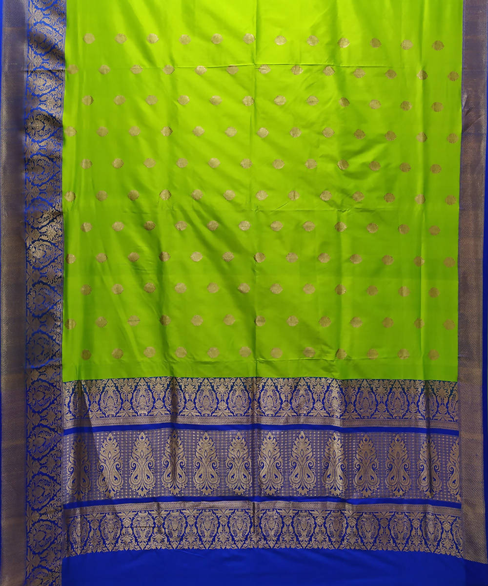 Parrot green and blue handloom katan silk banarasi saree