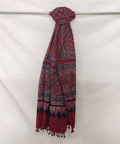 Blue and black Ajrakh handblock print on maroon handloom cotton stole