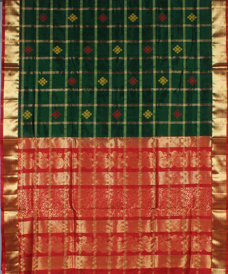 Dark Green Checks Khadi Handloom Silk Saree