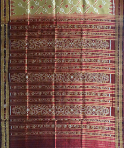 Brown Nuapatna Ikat Handloom Silk Saree