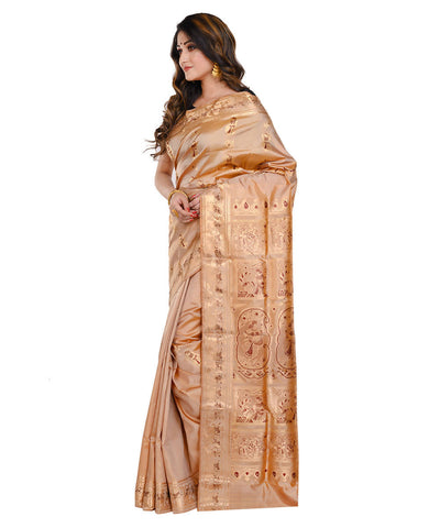 Tan brown baluchari handwoven Silk Saree