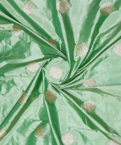 Ocean Green Banarasi Handloom Silk Fabric