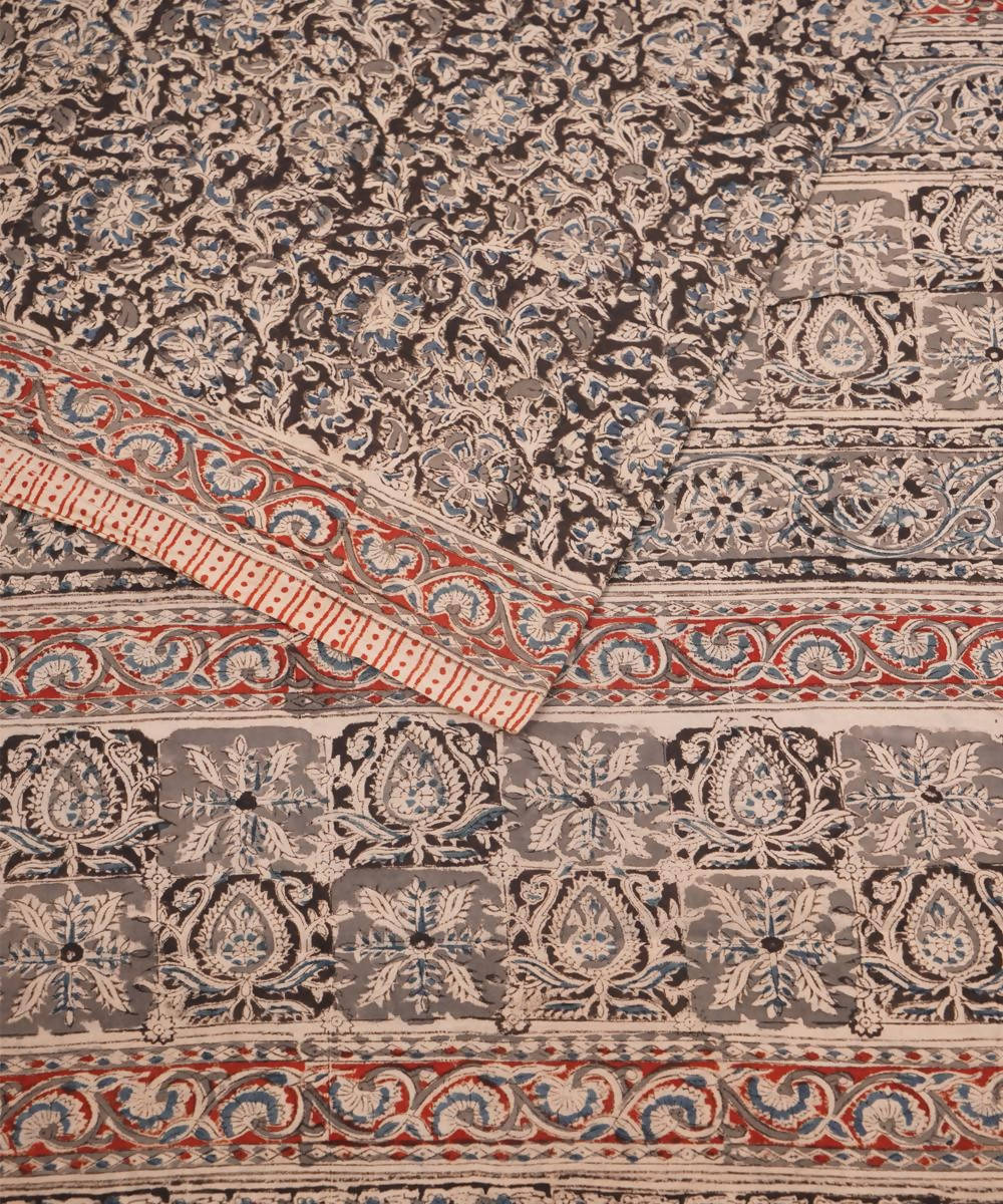 Grey Brown Hand Print Kalamkari Cotton Saree