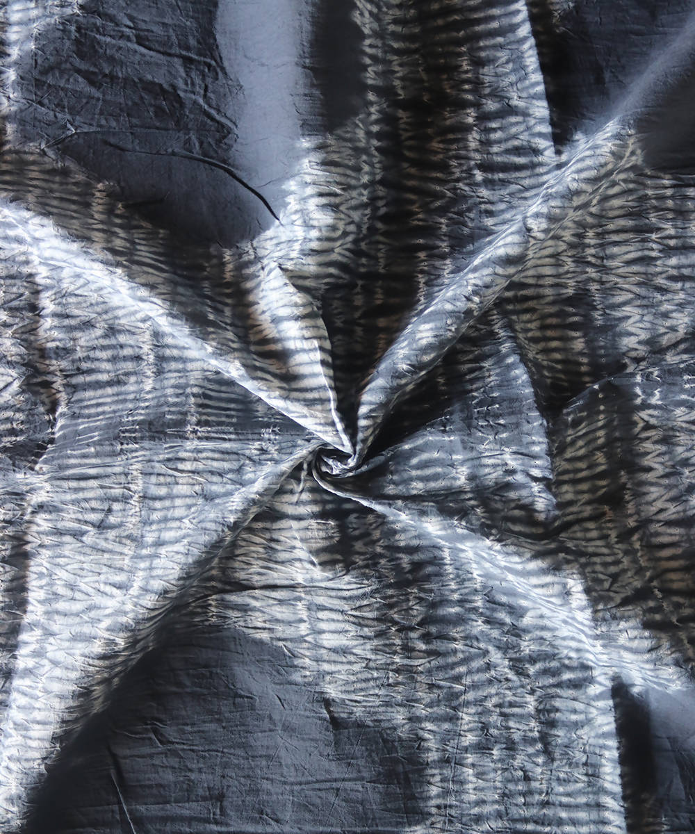 Grey white shibori tie dye printed cotton fabric