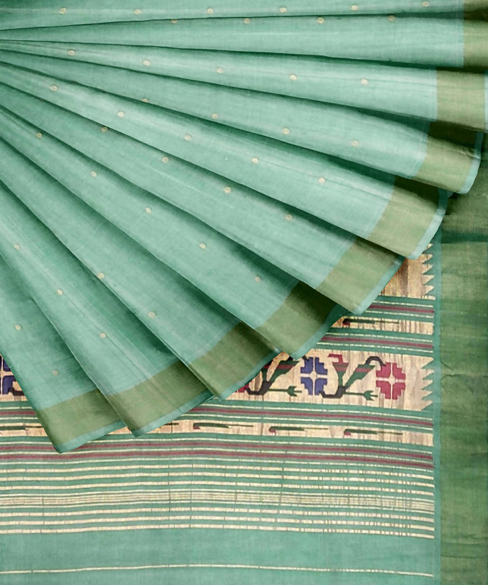 Pale Green Handloom Paithani Cotton Saree