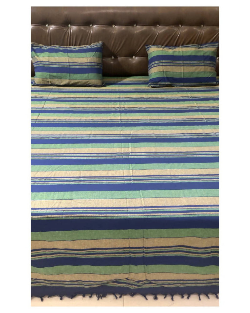 Green and blue stripes handloom king size bedsheet